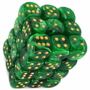 Green & Gold Vortex 12mm D6 Dice Block